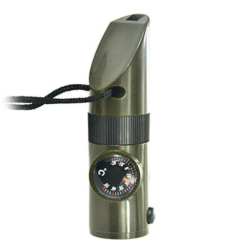 chuangke emergenza sopravvivenza Gear-7in 1bussola, fischietto, lente d' ingrandimento, torcia LED, impermeabile contenitore, Termometro e segnalazione Specchio per escursionismo, campeggio (2pcs)