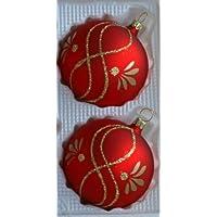 Palline Rosso Opaco con viticci 2pezzi D 12cm decorazioni dell' albero di Natale Gioielli in vetro soffiato a bocca,  anni lauschaer Das Original