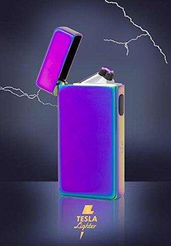 Tesla-Lighter T13 | Lichtbogen Feuerzeug, Plasma Double-Arc, elektronisch wiederaufladbar, aufladbar mit Strom per USB, ohne Gas und Benzin, mit Ladekabel, in edler Geschenkverpackung, Regenbogen