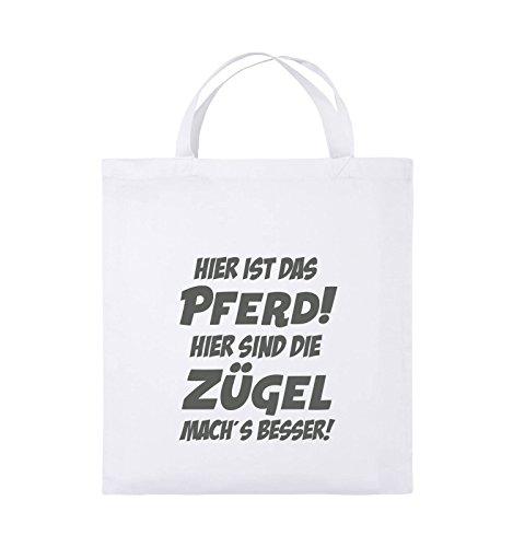 Comedy Bags - Hier ist das Pferd! Hier sind die Zügel mach's besser! - Jutebeutel - kurze Henkel - 38x42cm - Farbe: Schwarz / Silber Weiss / Grau
