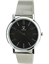 BELLOS -Damen Armbanduhr Schwarz Quarz Stahlgehäuse Analog Anzeige Stahl Armband Silber