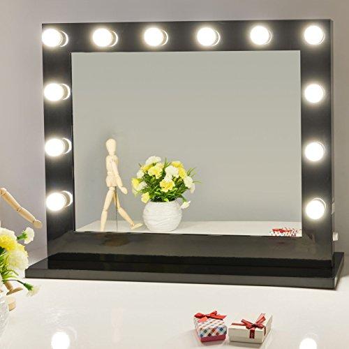 Hollywood vanity mirror amazon chende black hollywood lighted makeup vanity mirror light with dimmer free 14 led bulbs aloadofball Images