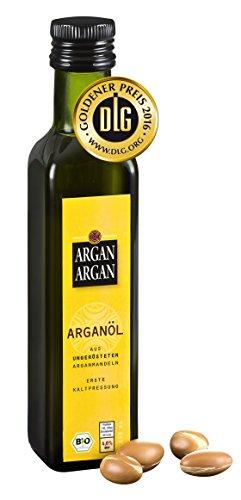 ArganArgan Aceite de argán ecológico, sin tostar, 250ml, prensado en frío, premiado con el DLG-Gold, vegano, antienvejecimiento, también para la piel, la cara, el pelo