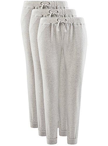 oodji Ultra Femme Pantalon en Maille (Lot de 3) Gris (2000M)