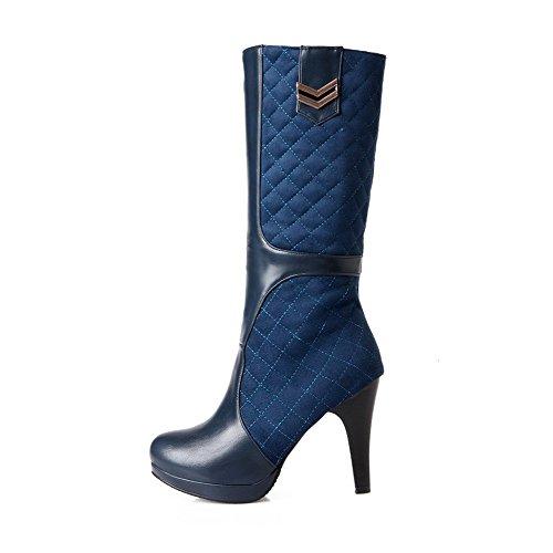VogueZone009 Damen Ziehen auf Rund Zehe Hoher Absatz Blend-Materialien Mitte-Spitze Stiefel, Rot, 39