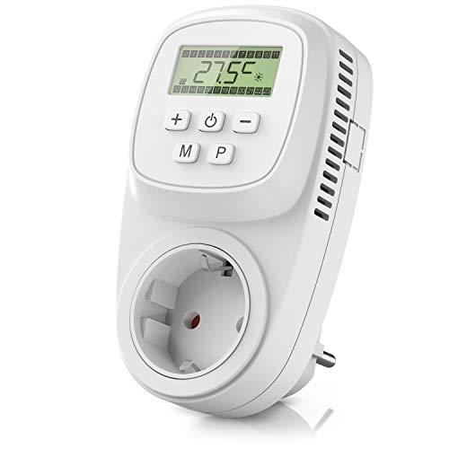 CSL - Thermostat digital - Steckdosenthermostat - Steckdosen Thermostat für Heizgeräte Infrarotheizungen - Frostwächter Backup Batterie - energieeffizient 0,3W