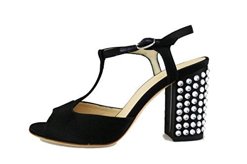 LELLA BALDI sandali donna 37 EU nero raso strass AG127-B