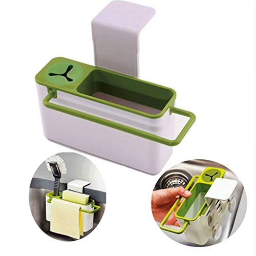 Multifunction Self-Draining Under Sink Storage Box for Sponge Towel Kitchen Sink Rack Cleaning Tool Organizer