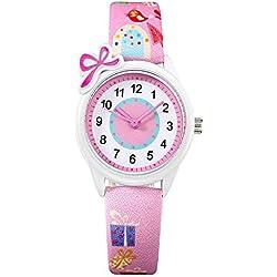 Los niños Relojes, tiempo maestro las niñas reloj resistente al agua Cartoon cuarzo analógico reloj de pulsera rosa Cute estudiantes reloj