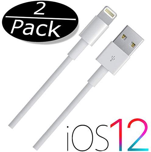 IPRIME -2 Stück- 1 Meter USB Kabel / 8 Pin Ladekabel Datenkabel passend für iPhone XR, XS, XS Max, X, 8, 8 Plus, iPad 4, Pro, Mini, 2 - Weiß 1m (8-pin-docking-station Ipod)