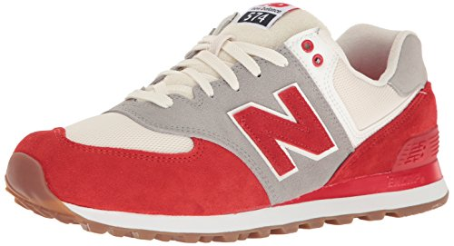 New Balance Men's 574 Resort Sport Lifestyle Fashion Sneaker, Chinese Red/Silver Mink,...