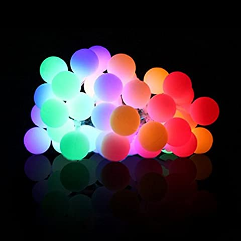 Happyit 3.5M 30pcs Led Boule chaîne lumières Lampes à cordes pour Nouvel An Noël Décorations Fête de mariage Feuilles Jardin de décoration intérieure (Multicolore)