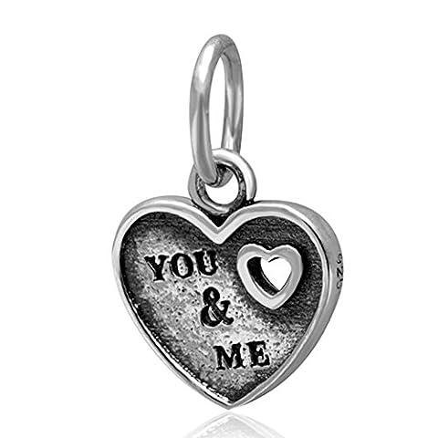soulbead You und Me Herz echtes 925Sterling Silber baumeln Charms für europäische Marke Armband
