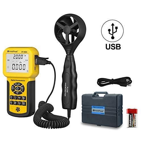 Holdpeak-856A Pro Anemómetro de Mano,0~45℃(32~113℉) Ajuste del Zona de Flujo de Aire, Velocidad del Aire, Temperatura, Medidor de Velocidad del Viento con Luz de Fondo,Retención de Datos y Puerto USB