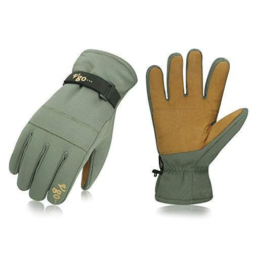 Vgo, circa -40℃, 3M Thinsulate G80, guanti da lavoro invernali, guanti da sci, sciare, snow board, impermeabile e antivento, outdoor Sport Invernali(10/XL,Verde,SL2269)