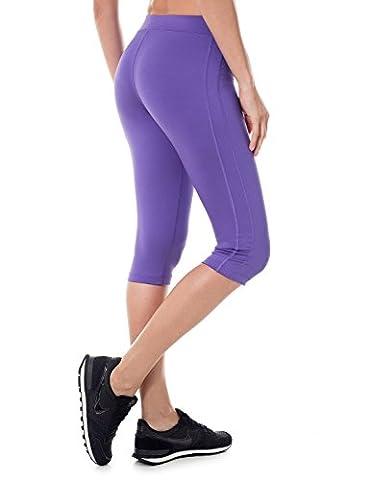 SYROKAN Damen Sports Leggings - Capri Tights Laufhose Sportshose Blauviolett 44 ( XL ) (Compression Capri Tights)