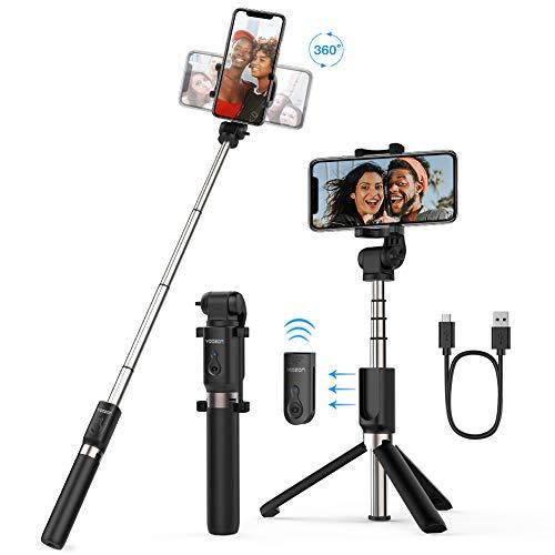 Yoozon Bluetooth Selfie-Stick Stativ mit Fernbedienung, 360°Rotation Selfie Stange Monopod kabellos für die meisten iPhone Android Smartphones
