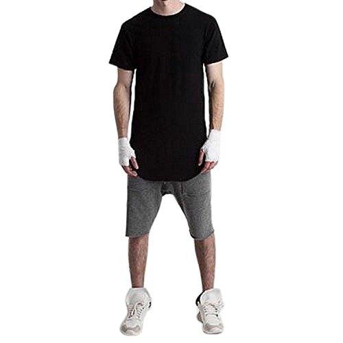 West See Herren Männer Lange T-Shirt Kurzarm Streetwear Hip Hop Bluse Hemd Poloshirt Schwarz Grau Weiß (EU XL (Etikettgröße XXL), Schwarz) (Schwarzes Hop T-shirt Hip)