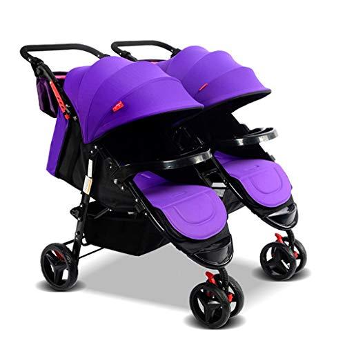 KHUY Scooter X2 Doppelkinderwagen, Doppelkinderwagen |Leichte Doppelkinderwagen mit Tandem Seating, Side by Side Tandem Umbrella Wagen (Color : Purple)