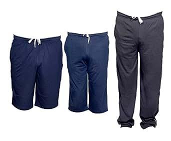 Indiweaves Mens Combo Pack(Pack of 1 Shorts/Bermuda,1 3/4 Capri,1 Full Ankle Length Lower/Track Pants)_Blue::Blue::Blue_40