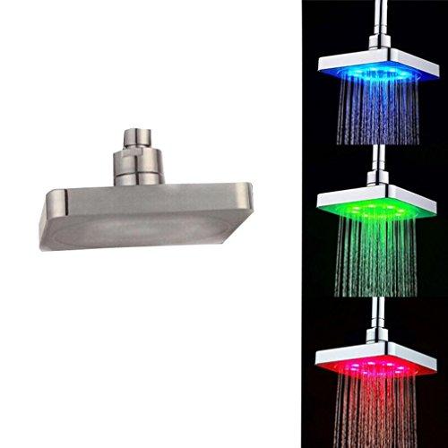 Zarupeng LED Duschkopf Duscharmatur, Regendusche Einbauduschköpfe - Filter Funktions und Wassersparend - Spa-Erlebnis - Antikalk-Funktion (One Size, Silber)