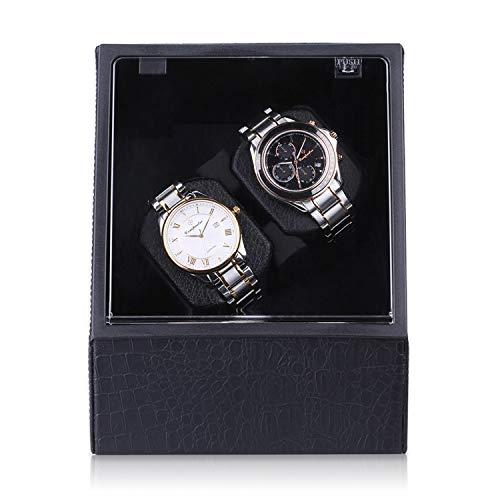CRITIRON Premium Automatischer Uhrenbeweger Uhrenbox aus PU-Leder Coffret Watch Winder für 2 Uhren Schwarz 2+0