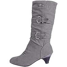 Zapatillas, BaZhaHei, Cabeza Redondo Antideslizante Cinturón Zapatos de Mujer Hebilla de cinturón Antideslizante de