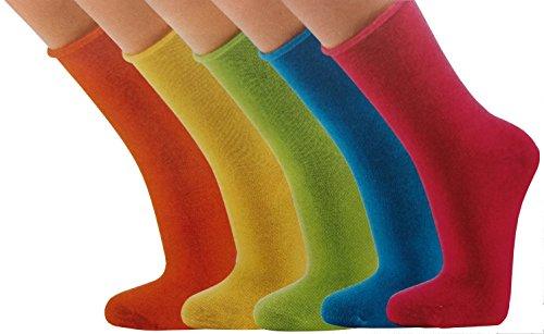 6 Paar Wellnesssocken Damen ohne Gummi, für Diabetiker geeignet, Größe 35-42, mit Rollrand (39-42, blau/grün/pink)