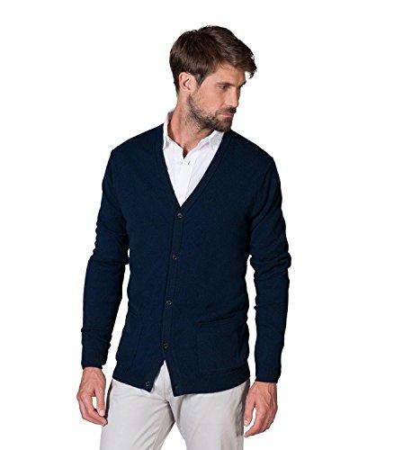 WoolOvers Strickjacke mit V-Ausschnitt aus reinem Kaschmir für Herren Navy