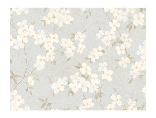 Preisvergleich Produktbild York Wallcoverings WW4450 West Wind Crackled Asian Blossoms Prepasted Wallpaper,  Silver / Cream / Gray by York Wallcoverings
