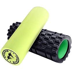 REEHUT Fitness Rodillo de Espuma 2-en-1 para Puntos Desencadenantes y Masaje para Músculos Dolorosos, Músculos Tensos + Rodillos Lisos para la Rehabilitación E-Book Gratis para Usuarios, 33 * 14cm