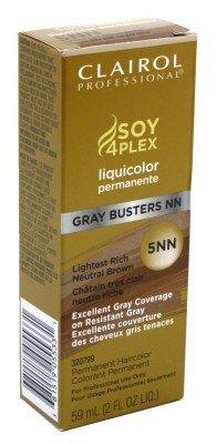 Clairol Colorant permanent Liquicolor Gray Busters - Excellente couverture des cheveux gris tenaces - Couleur 5NN - Châtain très clair neutre riche - 59 ml