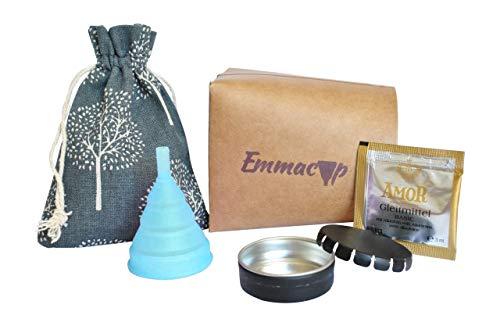 EmmaCup, die faltbare Menstruationstasse - inklusive Clic-Clac-Dose, Stoffbeutel und Becher zur Reinigung