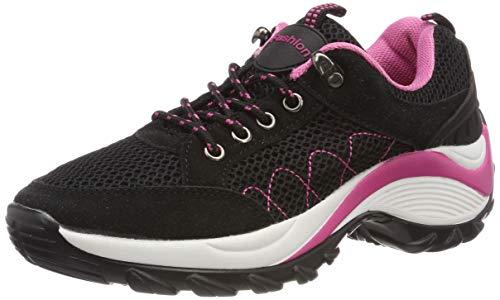 KOUDYEN Damen Mesh Sportschuhe Trendfarben Runners Schnür Sneakers Laufschuhe Fitness,XZ006-black-38EU