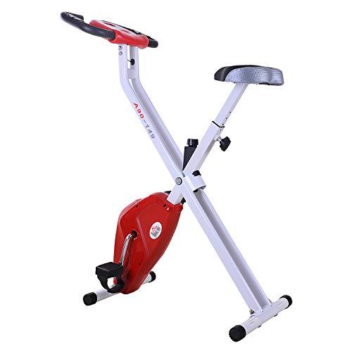 HOMCOM Bicicleta de Fitness Plegable Bicicleta Estática para Entrenamiento Pantalla LCD Asiento Ajustable...