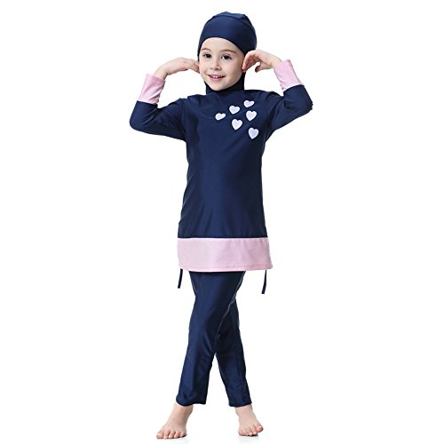 Hougood Mädchen Badeanzug UV Badebekleidung Muslimische Schwimmen Kostüme Kinder Modest Islamischen Hijab Badeanzüge Burkini Langarm Sonnenschutz Swimsuits Tauchanzüge In voller Länge Badeanzüge Gedruckt Top mit Hijab + ()