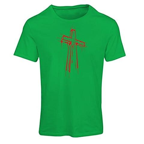 Frauen T-Shirt Beunruhigtes Kreuz - Eeligiöse Geschenke, Christliches Kleid (X-Large