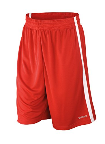 Spiro Basketball Quick Dry Shorts - Red/ White - XL