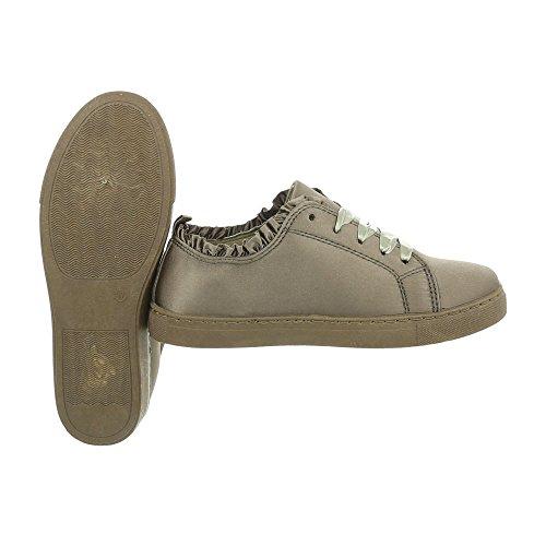 Ital-Design Sneakers Low Damenschuhe Sneakers Low Sneakers Schnürsenkel Freizeitschuhe Olive