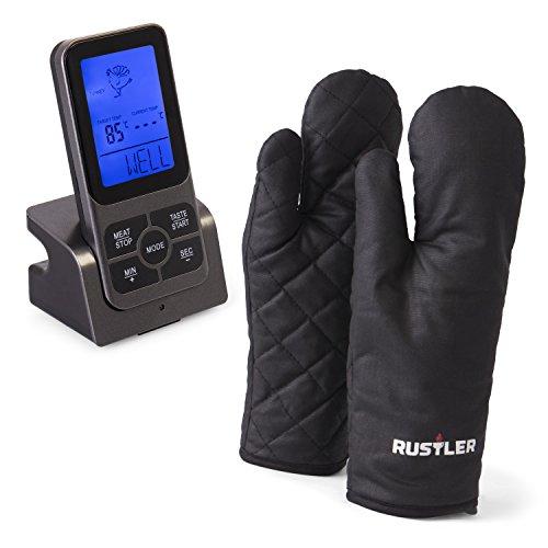 Rustler Digitales Braten- & Grill-Thermometer mit großem LCD-Display und tragbarem Funkempfänger - inkl. 1 x BBQ Handschuhe - Digitales Braten-thermometer