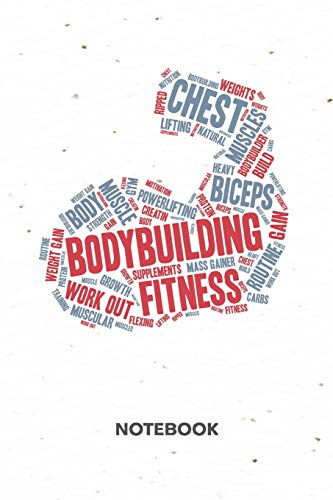 Bodybuilding Fitness NOTEBOOK: Ruled Notepad | Fitness Sketchbook Athletes Organizer Sportsman Planner | Boyfriend or Girlfriend Gift | A5 Diary 6x9 ... for Men & Women | Arm Workout Word Cloud - Neun Arm