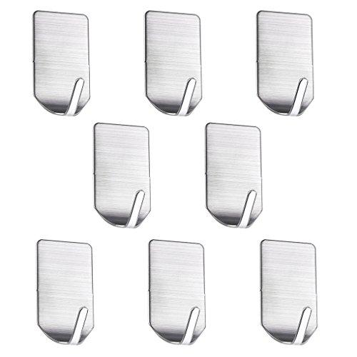 btsky 8Stück Wasserdicht Licht 304Edelstahl 3m selbstklebender Haken Handtuch Haken Bademantel Schlüssel Haken für Badezimmer Schränke Home Zubehör 1-hook (Kleiderbügel Leder-gürtel)