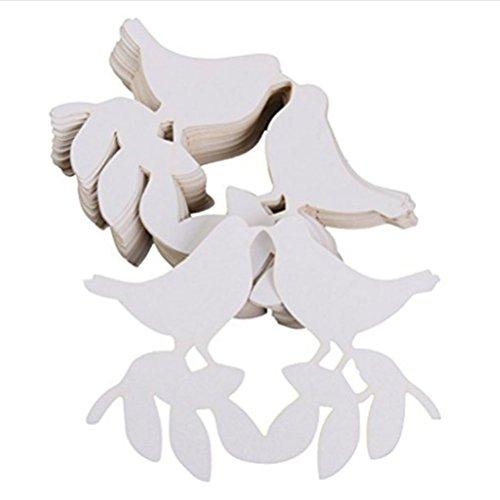 e Ort Karten Weinglas Karten für die Hochzeit Dekoration - küssen Liebe Vögel (weiß) (Die Hochzeit Ort)