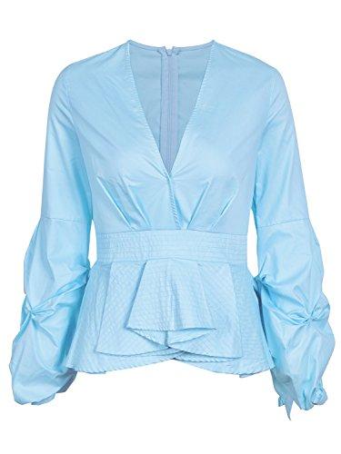 Missy Chilli Damen Oberteile Elegant Langarm V-Ausschnitt Baumwolle Bluse Peplum Tops mit Laterne Ärmel Blau (Laterne Baumwolle)