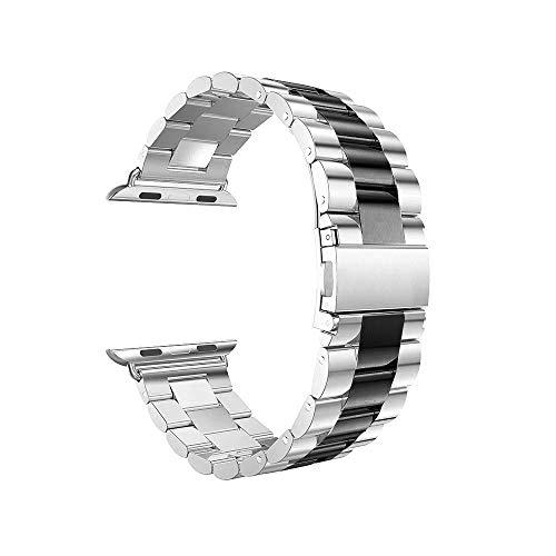 Vamoro Edelstahlarmband Smart Watch-Armband Edelstahl Metall Uhrenarmband Ersatz Uhren-Armband Uhrenarmband für Apple Watch Series 4 44mm(Schwarz)