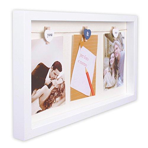 Bilderrahmen Bilder Foto Rahmen Fotorahmen aus MDF 24 x 43 x 3 cm für 3 Fotos 10 x 15 cm Modell