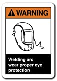 Cita aluminio signo señal de advertencia arco de soldadura desgaste adecuada protección ocular señal de seguridad señal de regalo de metal placa de pared decoración