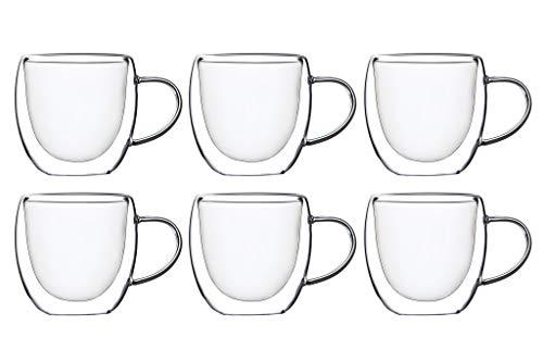 KADAX doppelwandige Glas Tasse, 250 ml, Glas mit breitem Griff, Trinkglas für Saft, Tee, Kaffee, Cappuccino, Wasser, Eistee, EIS, Universalglas, Teeglas, Vakuum (6)
