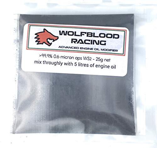 Wolfblood Racing Oil Modifier >99.9% 0,6 Micron APS WS2 Polvere Olio additivo 25 g - Tratta 5 Litri di Olio Moto