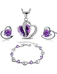 43695d794 findout Amethyst red pink blue white Crystal Heart Silver pendant Necklace  + earring+ bracelet set,for women girls.